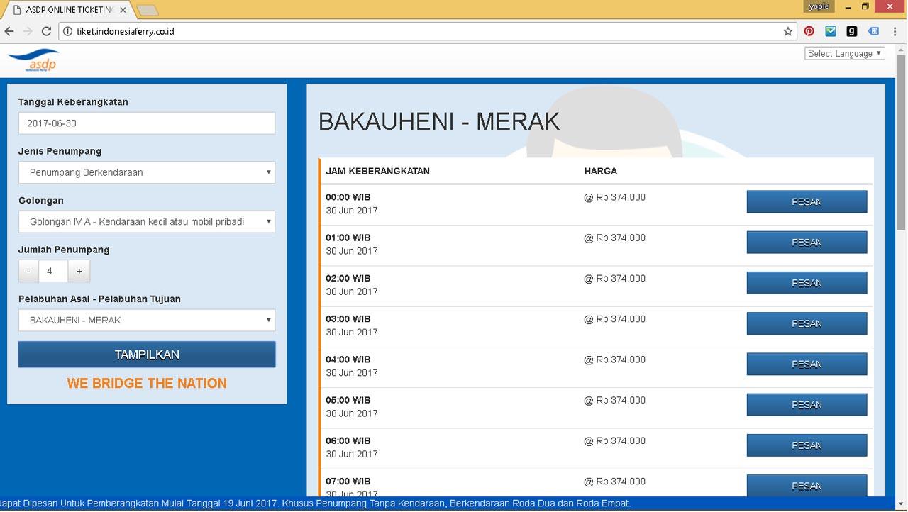 harga tiket online penyeberangan merak bakauheni - asdp - 2