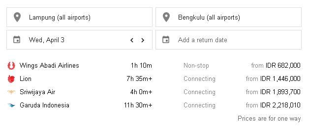 Harga tiket pesawat Lampung Bengkulu
