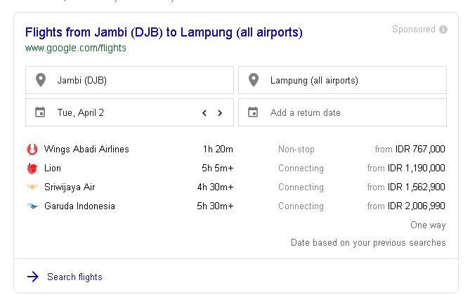 Harga Tiket Pesawat Jambi Lampung