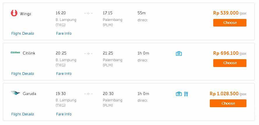 Harga Tiket Pesawat Lampung Palembang