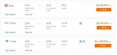 Harga Tiket Pesawat Palembang Lampung