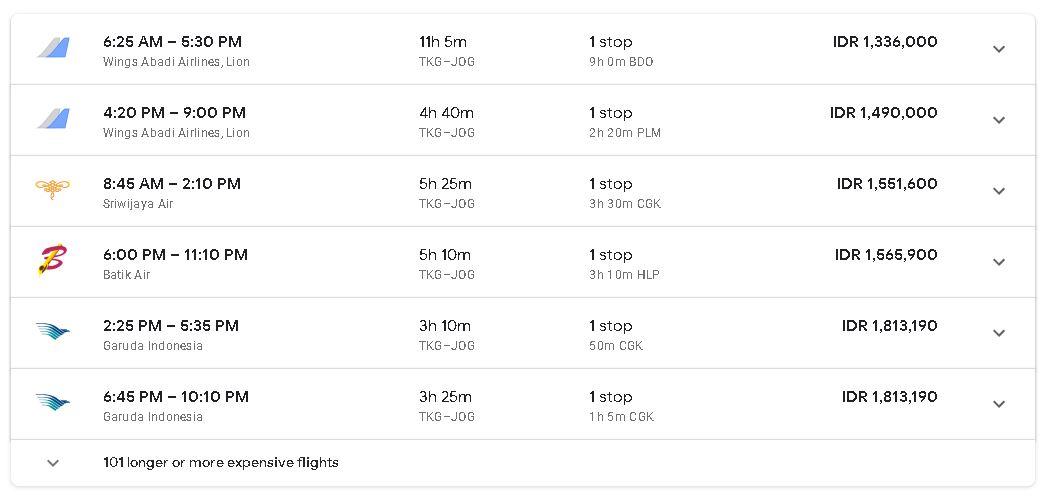Tiket Pesawat Lampung Jogja Tanpa Transit 2019
