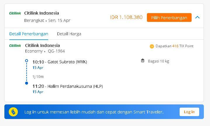 Harga tiket pesawat Citilink Gatot Subroto WYK - Halim Perdanakusuma HL