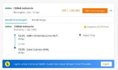Jadwal penerbangan pesawat Citilink Halim Perdanakusuma HL - Gatot Subroto WYK